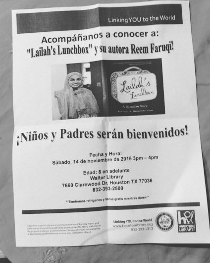 I loved the the flier was in both Spanish and English! Thank you to the Houston Libraries for having me!